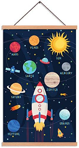 KAIRNE Cuadros de pared para habitación infantil para niños y niñas, póster para habitación de bebé, diseño de cohete, planeta con sistema solar, 28 x 45 cm, marco de madera