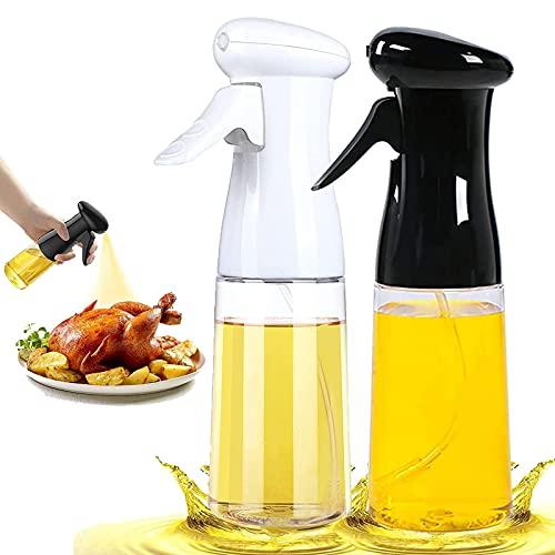 2 Pezzi Spruzzatore di Olio, Olio spray, olio spray per cooking, con pennello, Olive Oil 7 Oz / 210 ml per Cucina,bottiglia spray per olio, per kitchen, Baking, roasting, pasta, salad (nero e bianco)