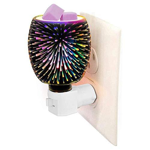 Suading Calentador de fragancia plug-in seguro aromaterapia calentador de cera de vidrio fundido con efecto de fuego 3D luz de noche enchufe del Reino Unido