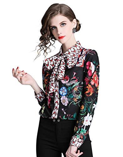DOVWOER Elegante blusa para mujer con lazo, manga larga, botones bajos, cuello alto, camisa para mujer, estampado floral