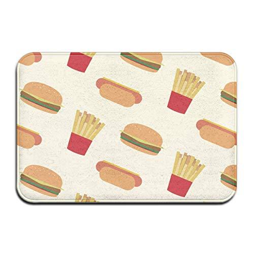 SESILY Felpudo Hotdogs hamburguesas, patatas fritas, antideslizante, para exteriores, elegante, para interiores, 40 x 60 cm