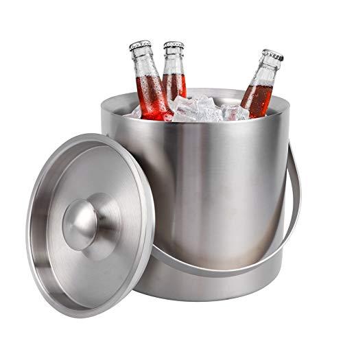 Cubo de hielo de doble pared, mantiene el hielo seco y frío Cubo de hielo de acero inoxidable de diseño de doble capa con asa para fiestas y barra para cócteles de vino tinto, champán