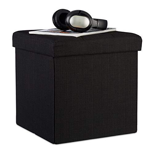 Relaxdays Faltbarer Sitzhocker, 38 x 38 x 38 cm, Sitzcube als Fußablage, Sitzwürfel aus Leinen, Deckel zum Abnehmen, schwarz
