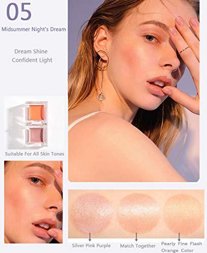 Ensemble de combinaison Ensemble de combinaison surligneur mini blush, outil de combinaison pour surligneur blush pour femmes,peut cacher les pores,la forme de la glace est facile transporter,Orange