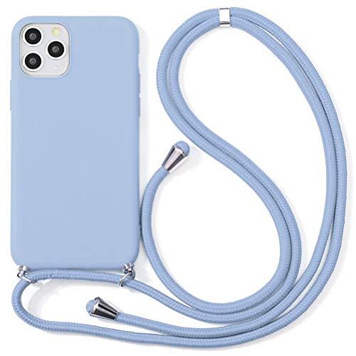 Eouine Capa transversal para Xiaomi Mi Note 10 [16,35 cm] – Cordão de pescoço com capa Mi Note 10 – Alça ajustável de TPU de silicone roxo antiarranhões – Roxo