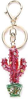 Luxurious Cactus Bonsai Colorful Rhinestone Keychain Bag Pendant Key Ring Women Ornament Decor Souvenir Daily Life Travel ...