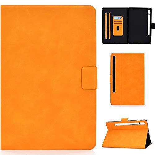 Handyhülle Für Samsung Galaxy Tab S7 11.0 T870 Rindsleder Textur Horizontales Flip Ledertasche mit Halter & Kartenschlitze & Schlaf/Wecker Handyhülle