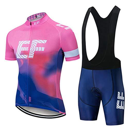 W&TT Damen Radtrikot Anzüge Rennrad Schnelltrocknungs Kurzarmhemd + Trägerhose mit 3D-Gel gepolstert für Outdoor Reitoutfit,Pink a,S