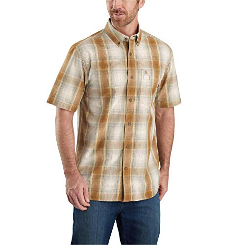Carhartt Men's Relaxed Fit Short Sleeve Plaid Shirt, Oiled Walnut, Large
