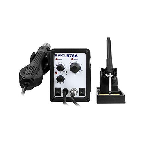 BAKU 878A Stazione di saldatura e pistola ad aria calda 700 W (flusso d'aria massimo 120 l/min, saldatore, display LED, controllo della temperatura) - nero