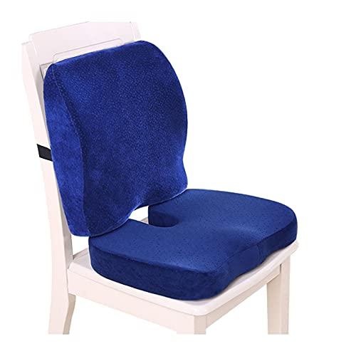 LIXIONG Silla de Suelo, Cintura Respaldo Proteccion Amortiguar, Aumento de Altura Almohadilla por Asiento de Coche Silla de Ruedas, Lavable Cremallera Cubrir (Color : A-Dark Blue)