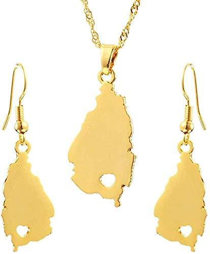 CAISHENY Pendientes de Mapa de Santa lucía de Color Dorado Conjuntos Colgantes para Mujeres niñas joyería Longitud 45 Cadena