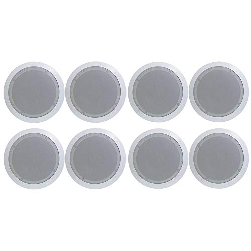 Best Buy! in-Wall/in-Ceiling Dual 8-inch Speaker System 2-Way Flush Mount White (4 Pairs)