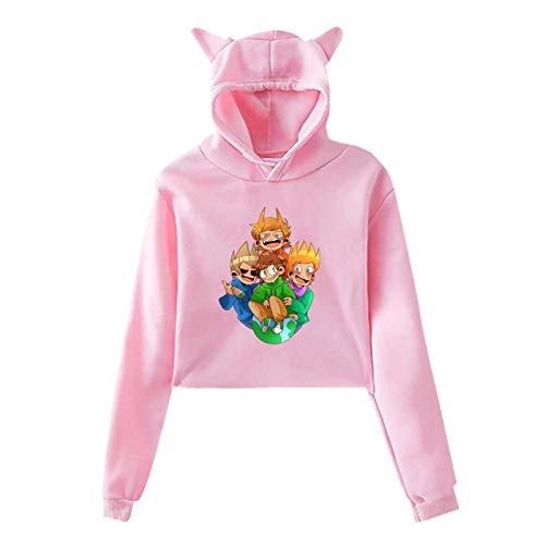 maichengxuan Eddsworld Pullover Katze Ohr Crop Top Langarm Pullover Hoodie für...