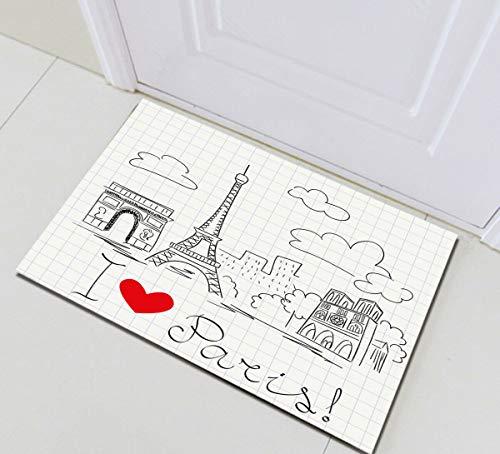 NNAYD1996 Ik hou van Parijs Eiffeltoren Graffiti Cloud 3D printen, badkamer accessoires, voordeur, achterdeur, keuken, woonkamer, toilet