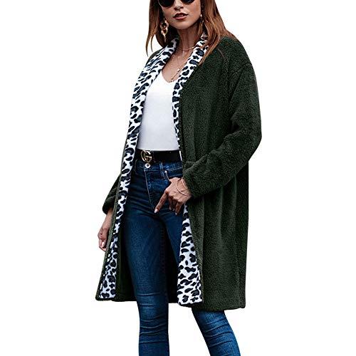 CHIYEEE dames pluche jas vrije tijd jas mode herfst winter lange mouwen gebreide jas nonchalant jas pluche lange bovendeel S-XL
