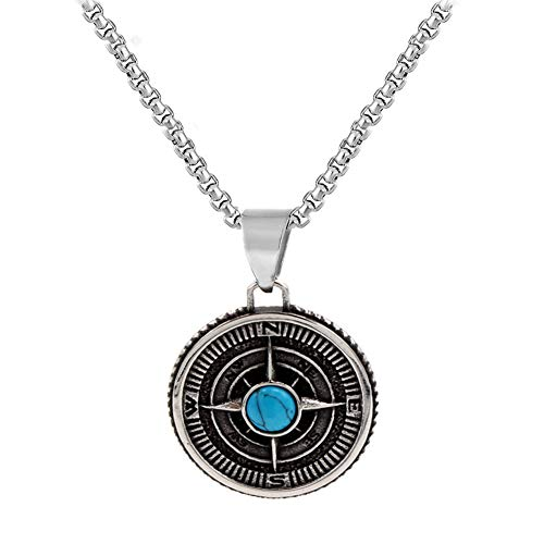 LRKZ Collar Vintage para Hombre,Guía de Brújula Vikinga de Acero Inoxidable Hecha A Mano con Collar de Amuleto Colgante de Turquesa