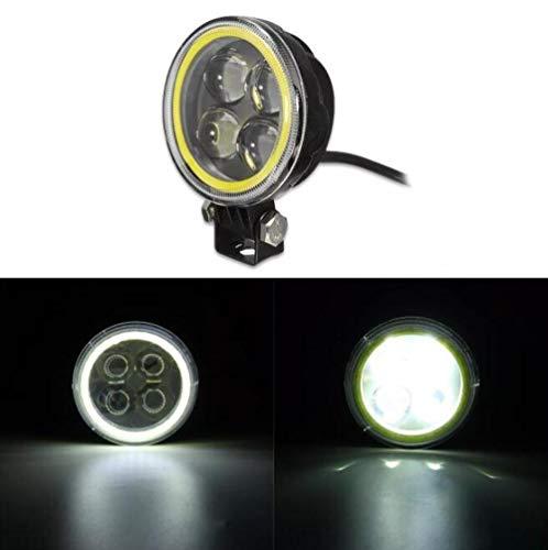SUCAN 9V-30V 12V rund LED Hi/Lo Beam Arbeitslicht mit RGB Angel Halo Spot Scheinwerfer (Weiß)