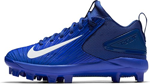 Nike Kids' Force Trout 3 Pro Mid Baseball Cleats (2.5, Blue/White)