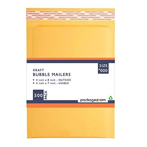 PackageZoom #000 4x8 Padded Envelopes Kraft Bubble Mailer Shipping Envelopes 500 Pack