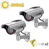 Cámara Falsa Cámara de vigilancia Falsa simulada con Bala Solar Cámara Domo CCTV de Seguridad con luz LED Intermitente para Exteriores Interiores hogar Negocios (2 Paquete)