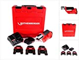 Rothenberger ROMAX Compact TT 1000002117 - Pressatrice a batteria da 18 V con set di ganasce SV 15-22-28 + 1 batteria da 2,0 Ah + caricatore