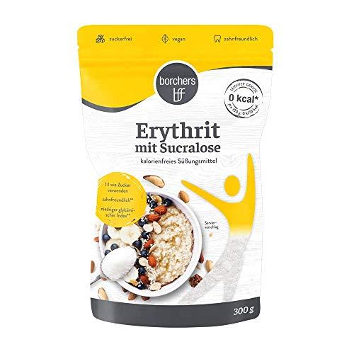 borchers Erythrit mit Sucralose Kristalline Streusüße, Zuckeralternative, Süßungsmittel, Kalorienfrei, Laktosefrei 300 g