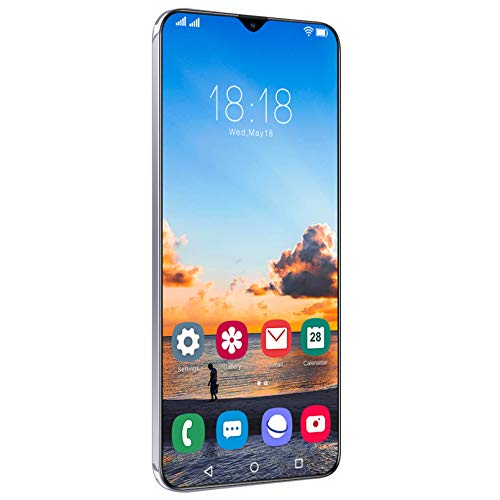 Smartphone (2021) 5G 6.7HD + Pantalla De Punto De Rocío, Batería De 6800 MAh, 4 GB De RAM + 64 GB De Android 11, Reconocimiento Facial, Reconocimiento De Huellas Dactilares, GPS,White