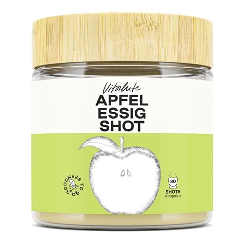 Apfelessig Shot - Trinkpulver - 80 Portionen pro Dose - Natürliche Zutaten - aus Apfelessig naturtrüb mit Mutter - wirkungsvolle Alternative zu Apfelessig Kapseln