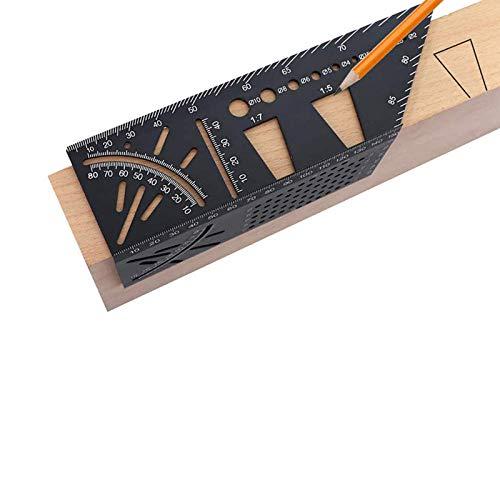 Aluminium-Legierung 3D Gehrungswinkel-Messwerkzeug, multifunktionales Holzbearbeitungslineal, Messlineal, 45/90 Grad Winkel T Lineal