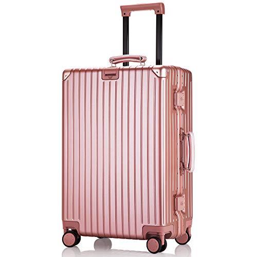 レーズ(Reezu) スーツケース アルミフレーム キャリーケース 小型 キャリーバッグ 静音キャスター キャリーバック TSAローク Sサイズ/Mサイズ 人気色 機内持込 軽量 旅行出張 安心の1年保証 ローズゴールド rose gold Sサイズ 約3