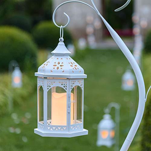 LuminalPark Lanterna Esagonale in Vetro e Metallo Bianco h 34 cm, con Candela LED Bianco Caldo a Batteria Telecomando 7F IR