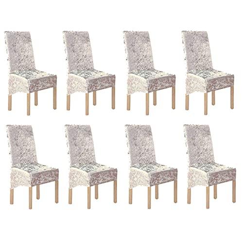 Esszimmerstuhl Schonbezüge Stretch Esszimmerstuhlbezüge, Crushed Velvet Stuhl Schonbezug Elastic Chair Protector Stuhlbezüge für Esszimmer Waschbar für Hotel, Bankett Hellgold 8er-Set