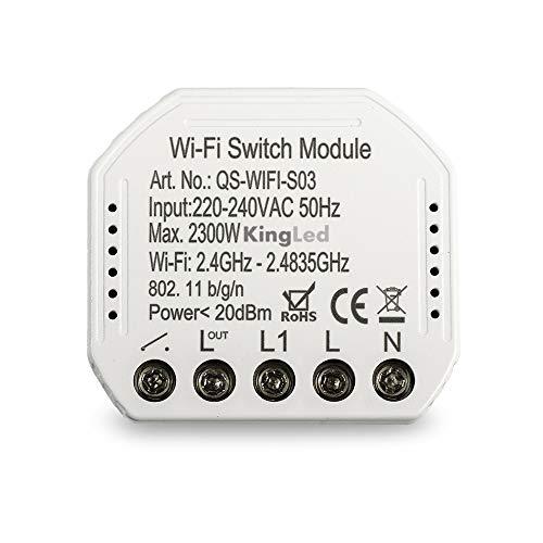 Kingled – Modulo Switch Intelligente per Trasformare un Circuito Luce con Interruttore ON e OFF Comune in Smart WiFi – Compatibile con Alexa, Google e Smartphone