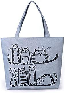 Gimax Top-Handle Bags - Women Canvas Handbag Cartoon Cat Printed Shoulder Bag Female Large Capacity Ladies Beach Bag Canvas Tote Shopping Handbags - (Color: Gray Warm cat)