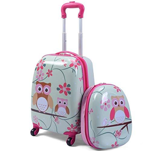 COSTWAY Set di Valigia Trolley per Bambini + Zaino, Bagaglio con Maniglia Retrattile, con Ruote Girevoli a 360°, Perfetto per Scuola e Viaggi (Gufo)