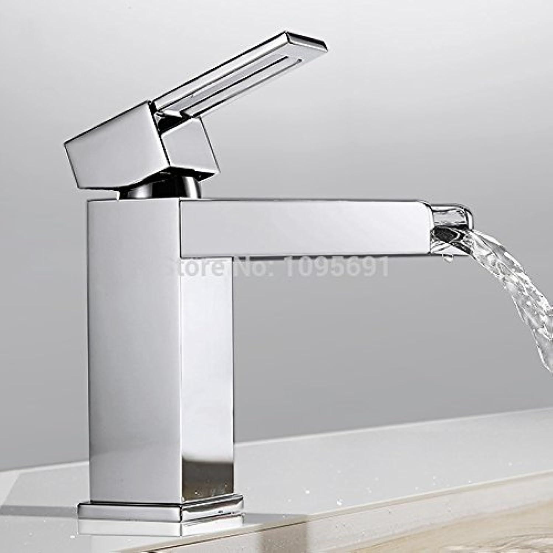 U-Enjoy Messing Wasserhahn Einzige Top-Qualitt Handgriff-Wasserfall-Badezimmer Vanity-Wannen-Hahn Mit Extra Groen Rechteck Spout Chrome [Kostenloser Versand]