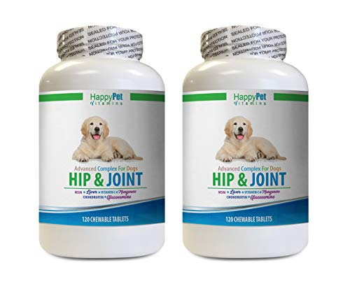 HAPPY PET VITAMINS LLC Anti inflammatory for Dogs  Dog Hip and Joint Health  Stiff Joint Solution  LUBRICATES Joints  Vet Approved  Dog glucosamine Pills  2 Bottles 240 Treats