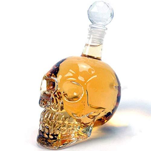 Decantador de Whisky de 1000 ml, Botella de Calavera de Cristal, dispensador de Vidrio también para Brandy Tequila, Ron escocés Bourbon, Gran Regalo para Cualquier Bar, 1000 ml