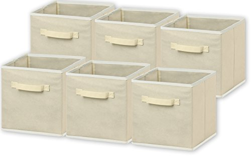 6 Pack - SimpleHouseware Foldable Cloth Storage Cube Basket Bins Organizer, Beige (11