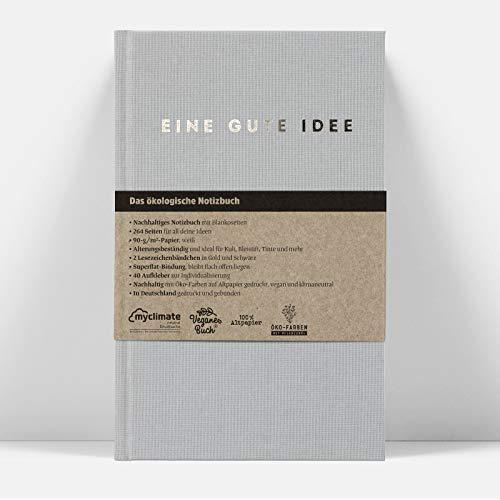 Eine gute Idee | A5 Hardcover Notizbuch mit Blanko Seiten | Klimaneutral und vegan produziert… (Grau)
