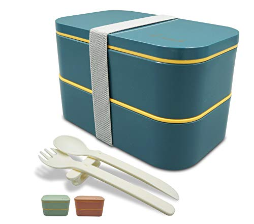 Bento Box Lunch Boxes with Reusable Cutlery Set 2-Tier Leakproof Insulated...
