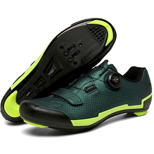 Zapatillas de Ciclismo Para Hombre Mujer Zapatillas de Ciclismo de Carretera Zapatillas de Peloton Zapatillas de Ciclismo Interior Transpirables con Tacos Compatible con SPD Look Delta,Green-36EU