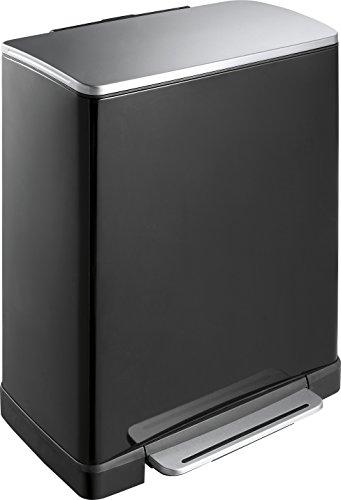 EKO Recycle E-Cube Poubelle à Pédale Métal Noir 34,5 x 50 x 65 cm 28+18 litres