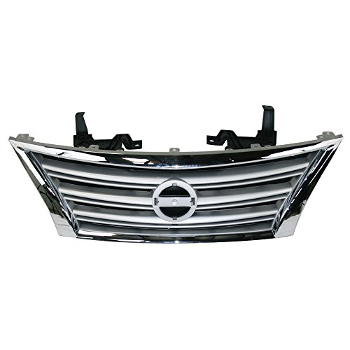 Perfit Liner New Replacement Parts Front Silver Black Grille Grill With Chrome Molding Compatible With NISSAN Sentra 13-15 Fits NI1200252 623103SH0A