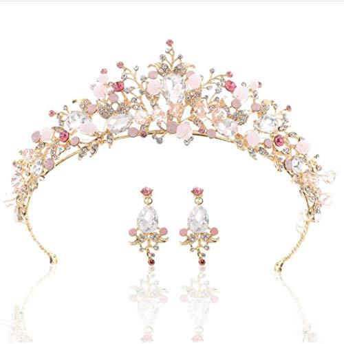 Mayelia Braut Hochzeit Krone Gold Kristall Braut Queen Krone und Tiaras mit Ohrring Perle Brautschmuck Stirnband für Frauen und Mädchen