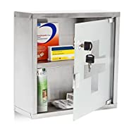 Relaxdays EMERGENCY L Medicine Cabinet, 30 x 30 x 12 cm, 2 Shelves and Locking Door, Stainless Steel...