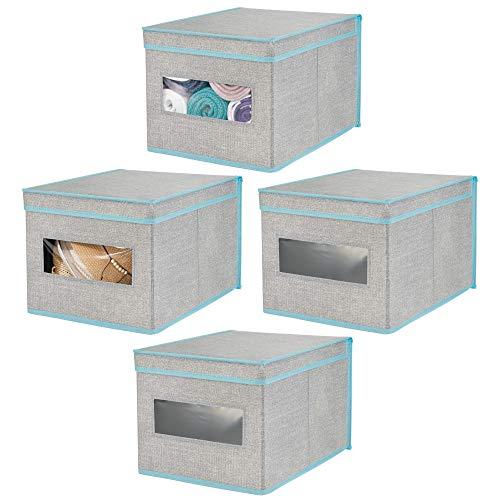 mDesign Set da 4 scatole portaoggetti impilabili con Finestra Trasparente – Box Grande con Coperchio per l'armadio della Camera da Letto – Cesta per Vestiti in Fibra Sintetica – Grigio/Turchese