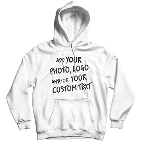 lepni.me Sudadera con Capucha Regalo Personalizado, Agregar Logotipo de la Compañía, Diseño Propio o Foto (Large Blanco Multicolor)