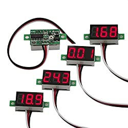 cheap Bayite set of 5 3-wire calibrated DC0-30V red digital mini voltmeters for pressure gauge mounts …